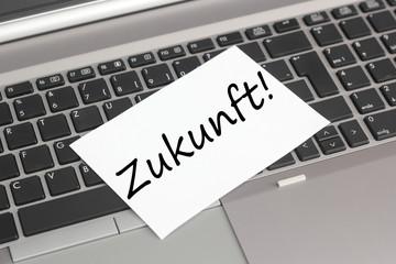 Laptop mit Zettel Zukunft