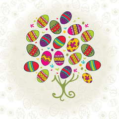 Background with Easter bright tree
