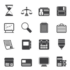 Silhouette Business and office  Icons- vector icon set