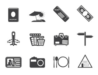 Silhouette Simple Travel and trip Icons- Vector Icon Set