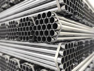 Metal pipes.