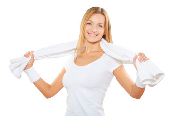 beautiful sports woman wih white cotton towel isolated