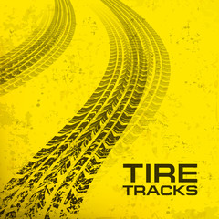 Detail black tire tracks on yellow, vector illustration