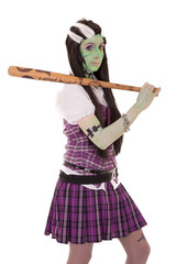 woman in Frankenstein costume with bat