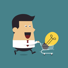 Businessman with shopping carting and light bulb Idea, Business