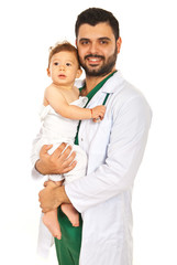 Happy doctor holding baby