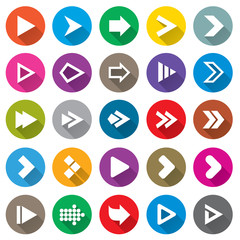 Arrow sign icon set. Simple circle shape buttons.