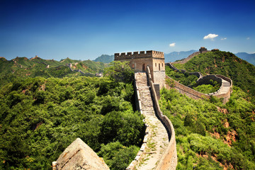 In de dag Chinese Muur The Great Wall of China near Jinshanling on a sunny summer day