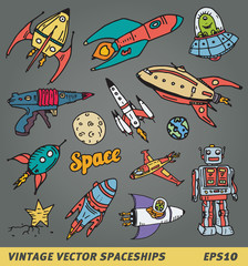 Space adventure vector image or doodle icons