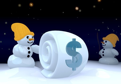 two snowman with Dollar symbol