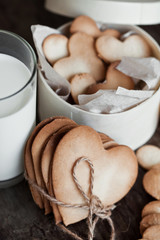 Breakfast Cookies in the Shape of Hearts on morning wooden table