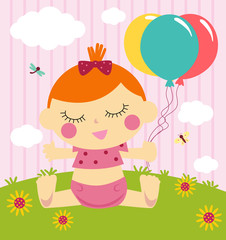 illustration of cute baby shower card