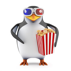 Popcorn eating penguin in 3d glasses