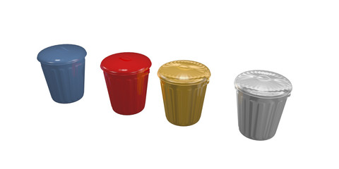 four trash cans