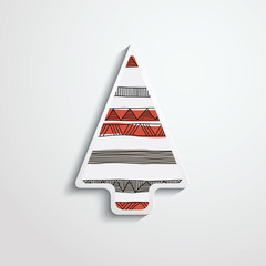 paper Christmas tree with folk pattern
