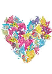 Floral Love Shape. Vector Heart of butterflies.