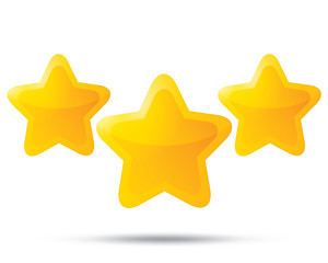 Three golden stars. Star icons on white background