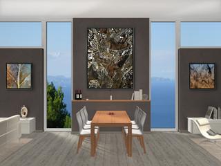 Esszimmer Interior mit Fenstern und Bildern
