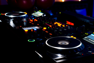 DJ music deck, turntables and equipment