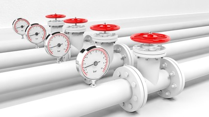 White pipes with meter, isolated on white