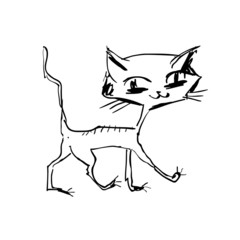 hand drawn happy cat walking