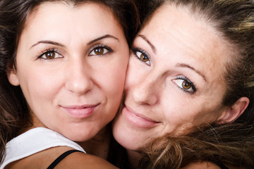 women faces close up