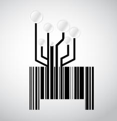 black circuit electronic barcode illustration