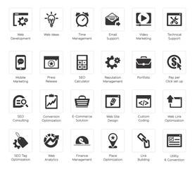SEO and Development icon set4, black series