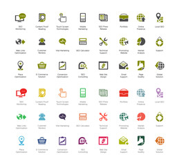 SEO and Development icon set3, colorful and dark series