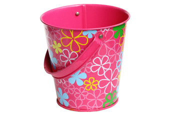 pink bucket isolated on white background