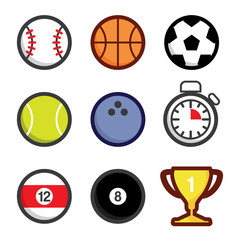 Various sport icons, balls and accessories