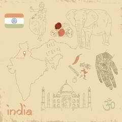 Vector set of Indian symbols on vintage old papers.