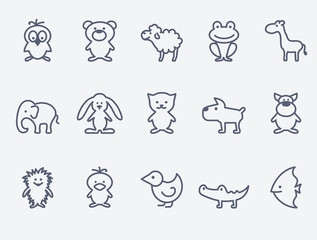 Cartoon animal icons