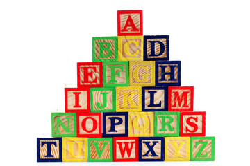 ABC wooden blocks on white