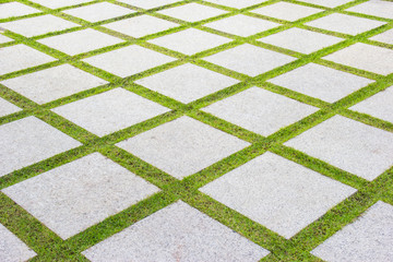 stone pathway with green grass background
