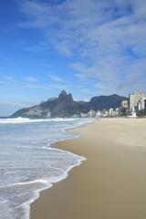 Rio de Janeiro Ipanema Beach Two Brothers Mountain Brazil