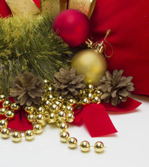 Christmas balls and pine cones