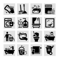 cleaning black icons