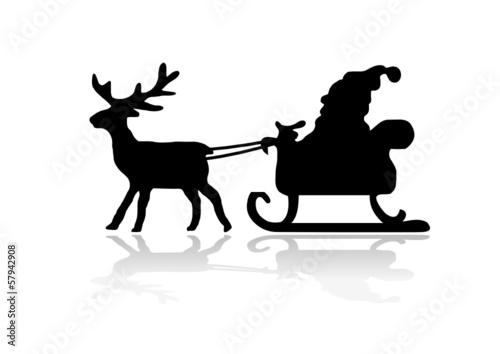 silhouette weihnachtsmann mit rentier stockfotos und. Black Bedroom Furniture Sets. Home Design Ideas