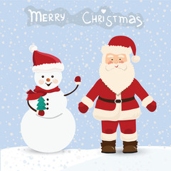 Santa Claus and snowman, christmas card in vector