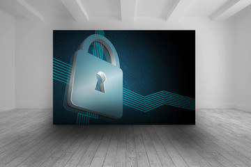 Room with futuristic picture of lock