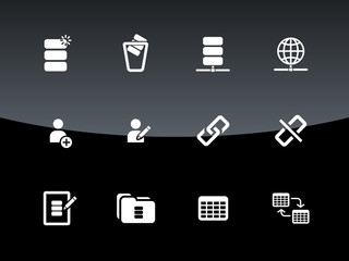 Database icons on black background.