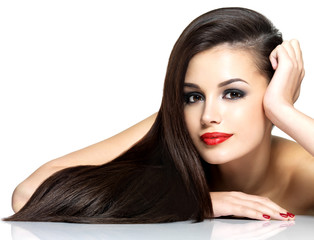 Wall Mural - Beautiful woman with long brown straight hairs