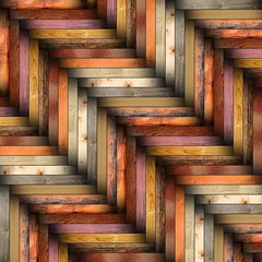 Poster ZigZag colorful wooden tiles on the floor