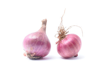 Shallots, Raw and uncooked isolated on white background