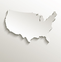 USA map card paper 3D natural