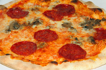 tasty pizza with pepperoni and mushrooms and mozzarella