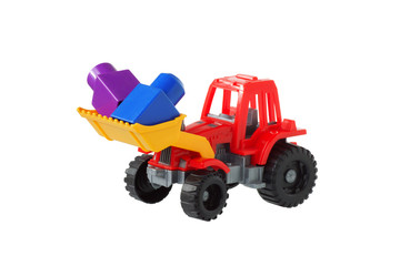 Tractor in the bucket carries designer items