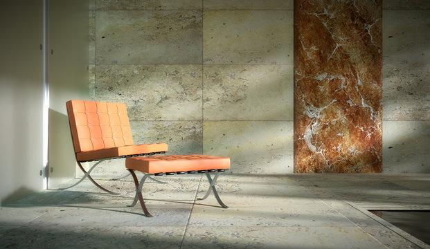 Pool mit rotem Stuhl