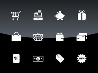 Shopping icons on black background.